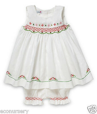 New Aurora Royal White Voile Cotton Sleveless Hand Smocked Dress & Bloomers Set