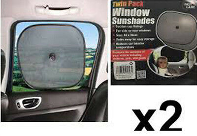 Pair Of Car Sunshades, Uv Protection, Kids, Baby, Pets, Shade, 2 Pack, Black