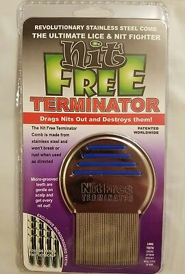 NEW Nit Free Brand Terminator Comb Rid Head Lice Stainless Steel Back to School
