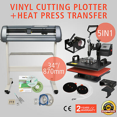"5in1 Heat Press Transfer Kit 34"" Vinyl Cutting Plotter CLamshell Machine T-Shirt"