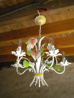 Vintage French tole ware Flower lamp Chandelier 5 arm lillies