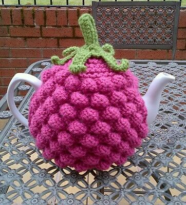 Hand Knitted Raspberry Tea Cosy.