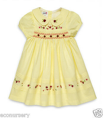 """Aurora Royal Hand Smocked Hand Embroidered Voile Cotton """"abigail"""" Dress"""