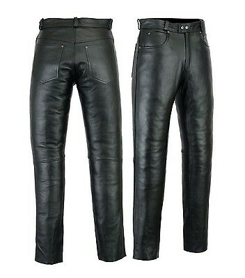 Mens Motorcycle Motorbike Jeans Pants trousers Premium Quality Cow Plain Leather
