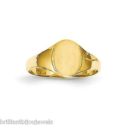 Genuine 14k Yellow Gold Child's High Polished Oval Baby Signet Ring Sz 1  .83GM