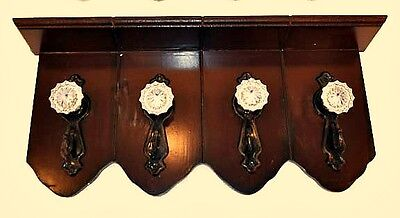 New Burgundy French Country Vintage Style Door Knob Hooks Wood Wall Shelf