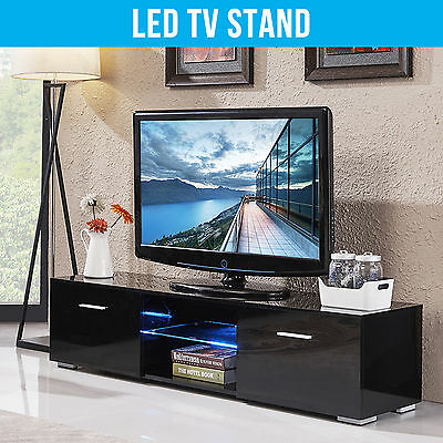 Modern TV Unit TV Cabinet TV Stand Black High Gloss FREE LED Two Drawers Storage