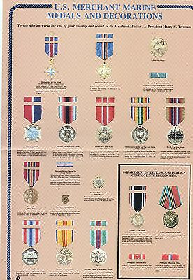 Merchant Marine color poster of all Medals & Decorations