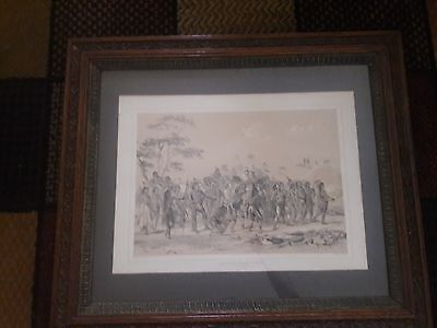 """Archery of the Mandans"" lithograph by Day and Hagne to the Queen RARE"