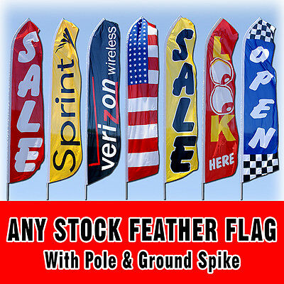 Any 15' Stock Tall Swooper Sign Advertising Flag Feather Banner + Pole & Spike