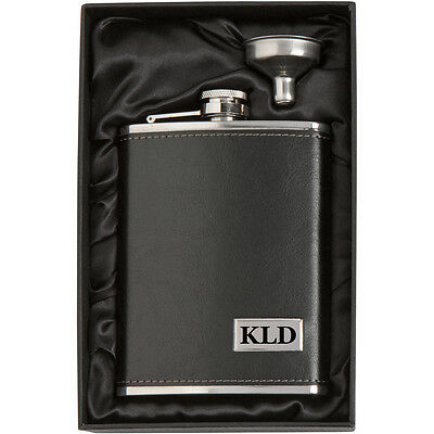Engraved 8oz Leather Wrapped Stainless Steel Hip Flask & Funnel PERSONALIZED