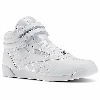 Reebok J93534:Classic Freestyle Hi-Top All-WHITE Aerobic Sneaker for Youth/Women