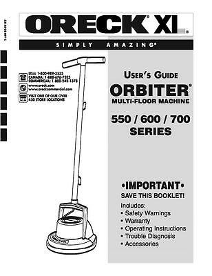 Oreck Orbiter 500 600 700 Series Replacement Owners User Manual For Floor Buffer