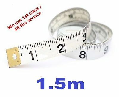 "1.5m / 60"" Long Tape Measure Measuring Tape Fibre Glass White with Black Print"