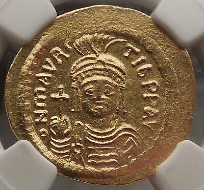 MAURICE TIBERIUS 582AD Ancient GOLD Byzantine Coin NGC Certified MS Angel 57431