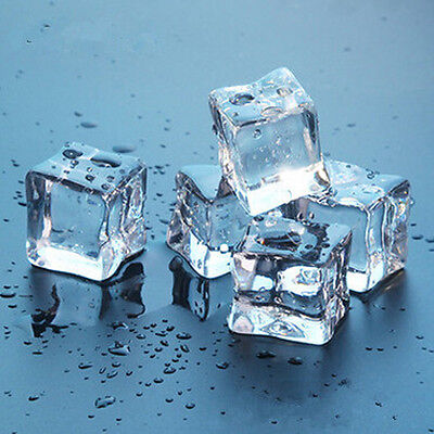 "12 Fake Faux Acrylic ice Cubes Crystal Clear 3/4"" Square"