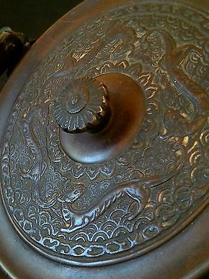 Antique Japanese ceremonial large bronze teapot kettle