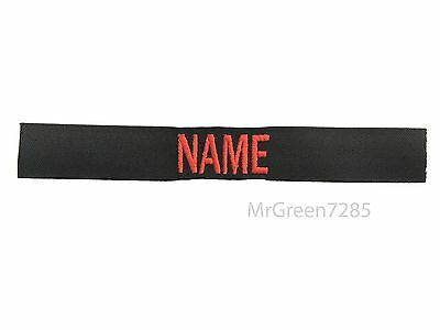 Custom Embroidered Black Name Tape with RED OR WHITE Letters
