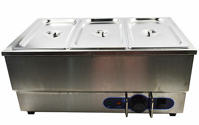 110V 3-Pot Electric Commercial Bain-Marie Buffet Food Sauce Desktop Warmer