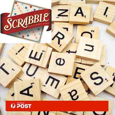 100PCS Wooden Alphabet Scrabble Tiles Black Letters&Numbers For Crafts Wood New
