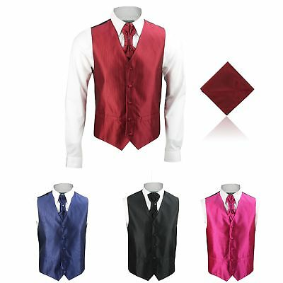 New Mens Classic Wedding Party Ribbed 3 Piece Dress Waistcoats Cravat Tie Hanky
