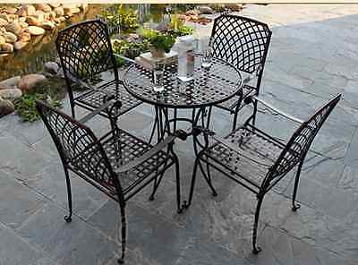 OUTDOOR TABLE CHAIR PATIO SETTING MARBLE Metal Garden Balcony Cafe Black Square