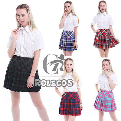 Women Sailor School Girl Uniform White Shirt+Pleated Fancy Dress Costume Outfit