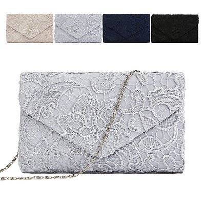 New Ladies Lace Floral Party Prom Bridal Evening Clutch Hand Bag Purse Handbag