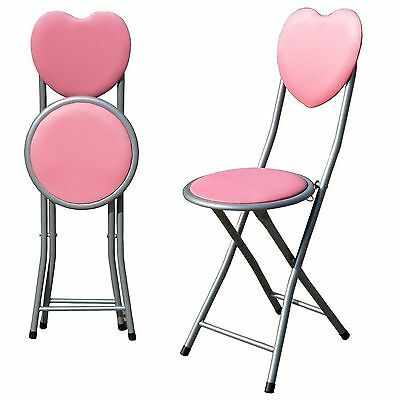 Kids Padded Folding High Chair Breakfast Stool Dining Hall Furniture Pink Heart