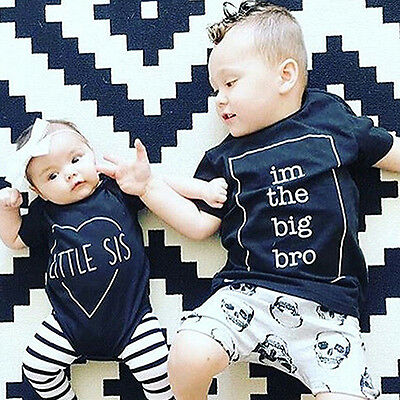 Big Bro Big/Little Sister Printed Kids Baby Short Sleeve T-shirt Romper  Stylish