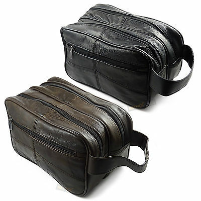 Quality Leather Wash Bag 3 zipped sections cowhide toiletries toiletry travel