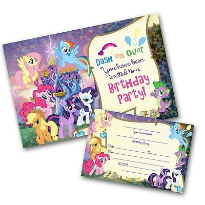 My Little Pony Scroll Invitations Personalised Party Invites Free Envelopes