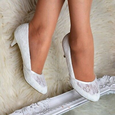 Womens Wedding Bridal Low Kitten Heel Ivory Floral Lace Court Shoes size 3-8