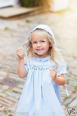"Aurora Royal Blue Cotton Hand Smocked ""grace"" Dress & Bonnet Outfit"