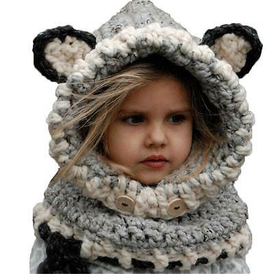 Warm Winter Fox Hat Cap Coif Hood Scarf For Toddler Boy Girl Baby Kids Cute