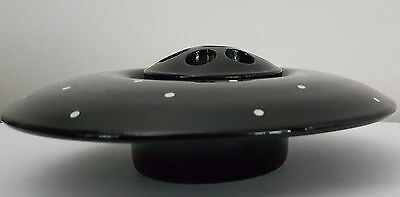 Vintage English Black & White Polka Dot Glass Float Bowl with Frog