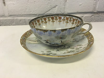 Antique Japanese Signed Likely Meiji Period Porcelain Cup & Saucer Cranes Dec.