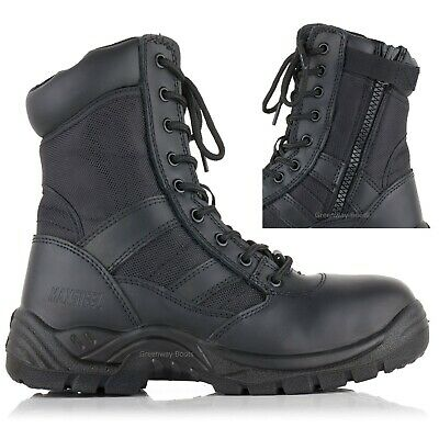 Mens Leather Waterproof Combat Safety Work Boots Army Police Steel Toe Cap Size