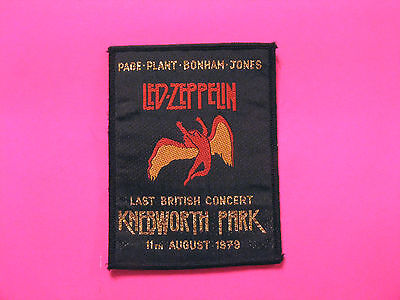 "Small Vintage Led Zeppelin Woven Sew On Patch  Uk Import ""knebworth Park"" 1979"