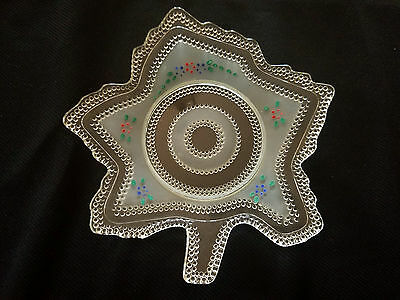 L E Wright Glass Tiny Hobnail Leaf Plate Satin And Crystal Hand Painted #650/807