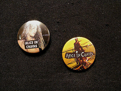 Two Alice In Chains Vintage Buttons Pin Badge Uk Import