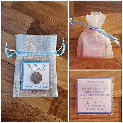 Personalised Lucky Sixpence Keepsake Wedding Bride Something Old Something Blue