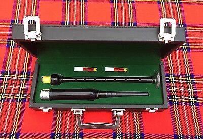 Scottish Highland Rosewood Silver Mounts Practice chanter+ carrying box+2 Reeds
