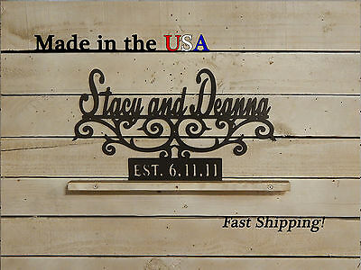 Couples Name Sign with Established Date, Scrolls, Wedding Gift, Family, S1200