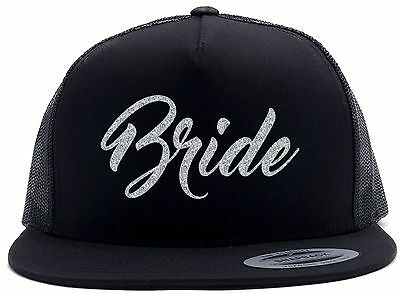 BRIDE Bling Glitter Baseball Cap Black Snapback Hat Wedding Party Bridal Party