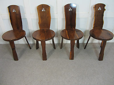 4x Mid Century 1950s 60s Yew Dining Chairs Hall Reynolds of Ludlow