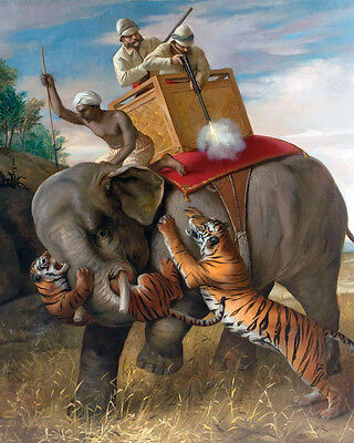 British Hunters On Safari In India Painting 8x10 Real Canvas Giclee Art Print