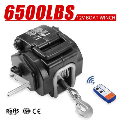 6500lbs/2948Kg Portable Electric Boat Winch 12V Steel Cable Detachable