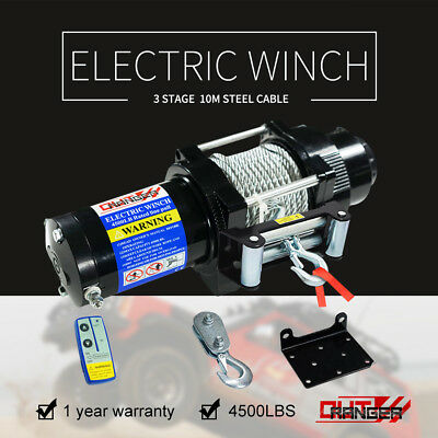 Outranger 12V 4500LBS Electric Winch 10m Steel Cable Wireless Remote 4WD