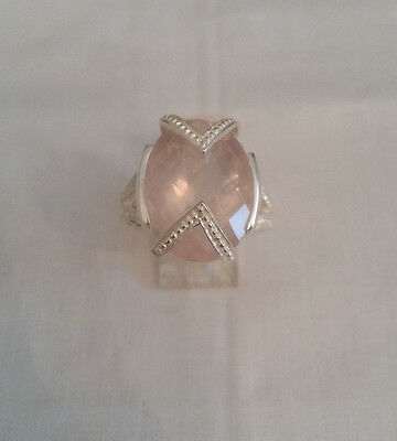 Artisan Crafted 92.5 Sterling Silver Oval Shape Rose Quartz Ring Size 8 1/2